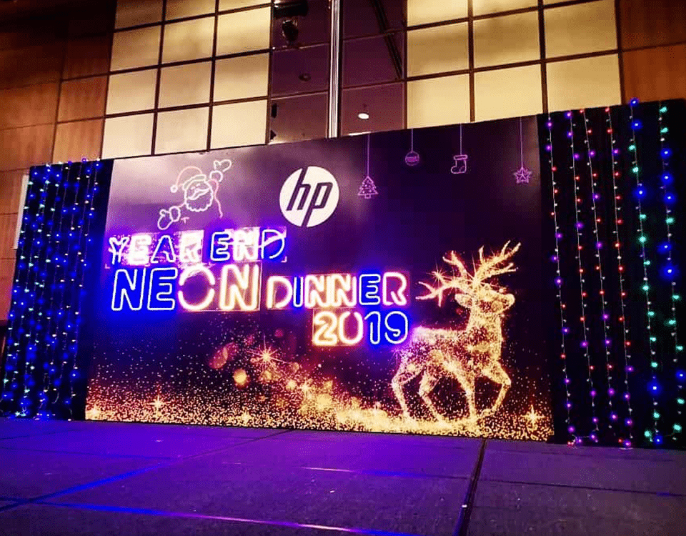 experienced exhibition booth fabricator- HP Neon Dinner 2019- Creative Digest International